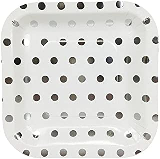 Just Artifacts Square Paper Party Plates 7.25-Inch (12pcs) - Metallic Silver Polka Dot - Decorative Tableware for Birthday Parties, Baby Showers, Grad Parties, Weddings, and Life Celebrations!