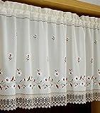 choicehot - Cortinas bordadas con diseño de crisantemo, color blanco, con borde de encaje, elegantes flores, para salón, dormitorio, cocina, estilo rústico, 1 unidad, 90 x 150 cm