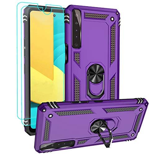 Androgate Funda para LG K22 y protectores de pantalla HD, soporte de anillo de metal de grado militar de 4,5 m, prueba de caídas, a prueba de golpes, compatible con LG K22, morado