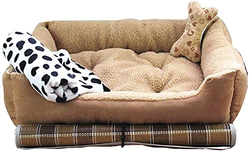 HCMNME Deluxe mjuk hundsäng, Lammkashmir Hundsäng, Hundsäng, Mycket mjuk hundsäng Avtagbar klädsel för djur soffa, helt tvättbar, avtagbar set i fyra delar, XL, för katter och hundar (Storlek: Medium)