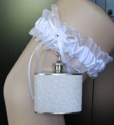 Garter Flask Lace Garter & White Glitter Sparkly Stainless Steel Liquor Hip Flask Bridesmaid Bride Wedding Party Gift