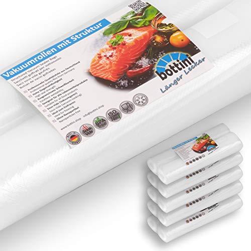 10 x BOTTINI Vakuumrollen goffriert mit Struktur 28x600 cm Sous Vide, Folien in Profiqualität mit Siegelrand und Struktur Vakuumbeutel für alle Vakuumierer wie Caso Gastroback Allpax Lava etc.