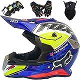 Casco Motocross, Cascos Infantiles Moto con Gafas/Máscara/Guantes, Casco Integral Adulto Juventud para Downhill Enduro MTB Quad BMX Bicicleta - con Diseño FOX - S-XXL / 52-63cm