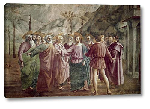 """Tribute Money by Masaccio - 11"""" x 16"""" Canvas Art Print Gallery Wrapped - Ready to Hang"""