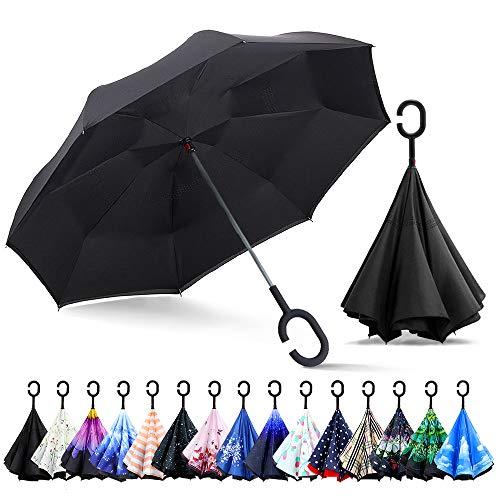 ZOMAKE Inverted Stockschirme, Innovative Schirme Double Layer, Winddicht Regenschirm, Freie Hand,Umgedrehter Regenschirm mit C Griff für Auto Outdoor (Schwarz)