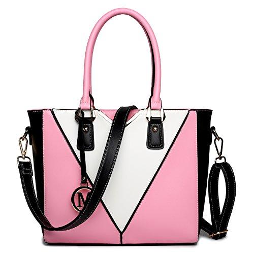 Miss Lulu Ledertasche Damen Schultertasche Handtasche