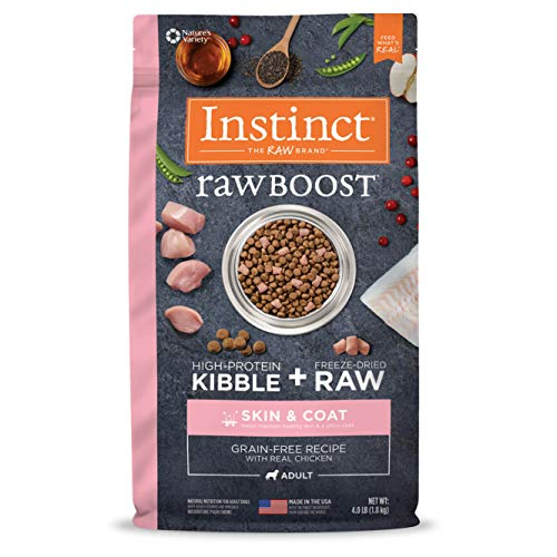 Instinct Raw Boost Skin & Coat Health Grain Free Recipe with Real Chicken Natural Dry Dog Food by Nature's Variety, 4 lb. Bag