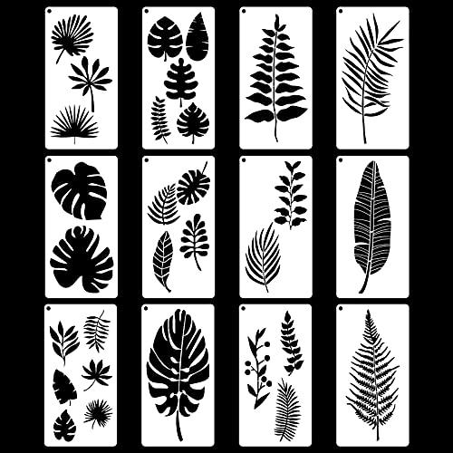 12 plantillas de hojas tropicales Plantillas de Dibujo para DIY Manualidades plantillas de Planta Hojas plantillas para pintar, plantillas reutilizables para Arte Bricolaje pared 15 x 30cm