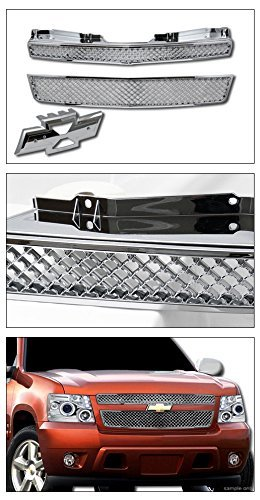 CHROME MESH FRONT HOOD BUMPER GRILL GRILLE ABS 2PC for 07-14 TAHOE/SUBURBAN/AVALANCHE