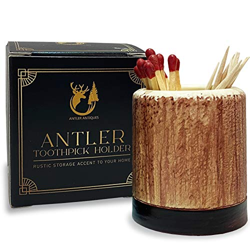 Antler Antiques Toothpick Holder- Cabin Decor For Your Rustic Kitchen, Bathroom or Man Cave