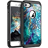 BENTOBEN iPhone 6 Case, iPhone 6S Case Slim Shockproof 2 in 1 Hard PC Soft Bumper Dual Layer Hybrid Luminous Noctilucent Nebula Protective Phone Cases Cover for iPhone 6/6S 4.7 inch, Mandala in Galaxy
