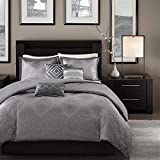 Madison Park Quinn 6 Piece Duvet Cover Set, Grey, Cal King, King King(104'x92')