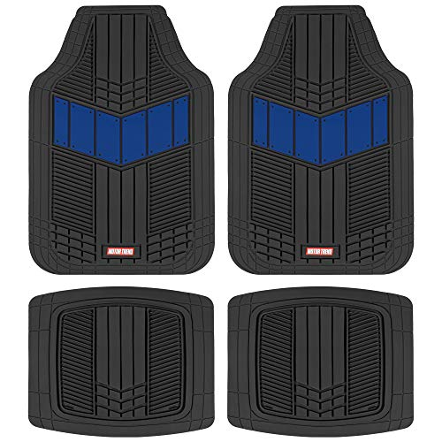 Motor Trend DualFlex Two-Tone Rubber Car Floor Mats for Automotive SUV Van Truck Liners - Channel Drainer All Weather Protection, Blue (MTX101)