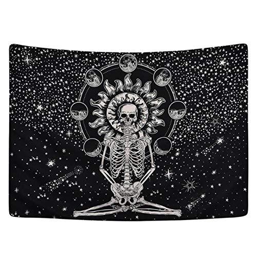 DMTWSM-Mandala schedel afgedrukt tapijt muur opknoping deken Yoga Mat slaapkamer Decor Boheemse strandlaken tafelkleed Halloween Tapestry-130 * 150cm (51 * 59inch)