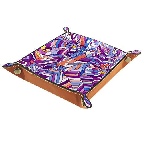 Caja de almacenamiento pequeña, bandeja de valet para hombre,Dibujado a mano púrpura ,Organizador de cuero para llaves de caja de monedas
