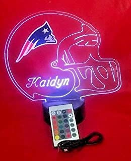 New England Patriots NFL Light Up Lamp LED Personalized Free Football Light Up Light Lamp LED Table Lamp Our Newest Feature - It's WOW, With Remote, 16 Color Options, Dimmer, Free Engraved, Great Gift