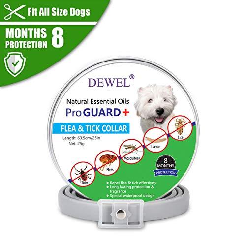 DEWEL 63,5cm Hundehalsbänder gegen Ungeziefer, Flohhalsband für Hunde und Katze, Verstellbar und Wasserdicht Zeckenhalsband