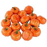 JEDFORE Artificial Lifelike Simulation Mini Pumpkins Fake Fruit for Festival Halloween Thanksgiving House Kitchen Decoration - Set of 16 - Orange