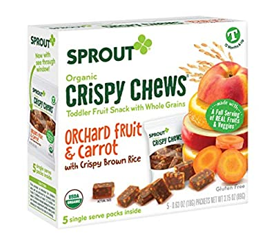 Sprout Organic Crispy Chews Toddler Snacks, Orchard Fruit & Carrot, 0.63 Ounce Single Serve Packets (5 Count, Pack of 1)