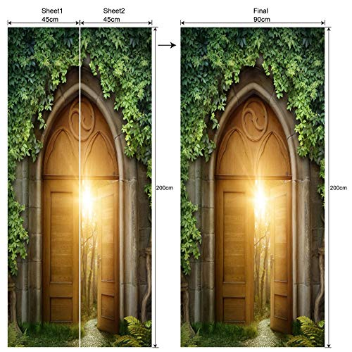 xingwenxue Green Wild Magic Door 3D simulación Pegatinas de Puerta extraíble Impermeable...