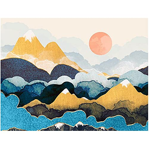 Paint by Numbers for Adults Beginner Mountain Landscape Painting by Number for Kids Sunset DIY Oil Painting Mountain Scenery Painting Kits Nature Pictures for Living Room House Decor, 16'x20'
