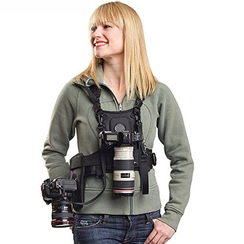 Nicama Multifunktionsweste Doppel Kamera Weste Dual Tragend Fotograf Top Chest Harness Carrier Brustgeschirr Vest Universale Trageweste Halterung Fotoweste, Für 2 Kameras Canon Nikon Sony DSLR Cameras