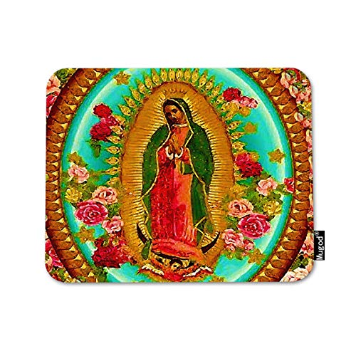 Mugod Mouse Pad Mexico Our Lady Guadalupe Mexican Saint Virgin Catholic Decor Gaming Mouse Pad Rectangle Non-Slip Rubber Mousepad for Computers Laptop 7.9x9.5 Inches