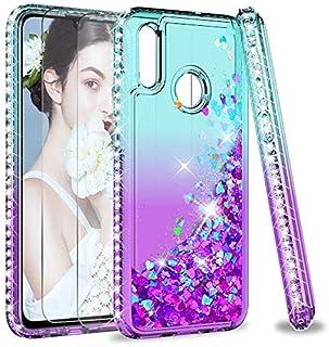 LeYi Fodral till Huawei P Smart 2019 med skärmskydd i härdat glas [2-pack], flicka 3D glitter vätska söt personlig klar si...