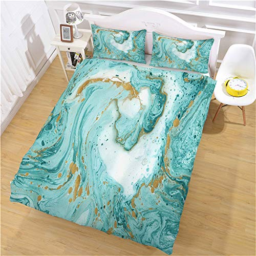 Omelas Abstract Marble Print Duvet Cover Set Turquoise Fluid Marble Bedding Sets with 3D Printed Design Reversible Bedding Full Watercolor Comforter Cover (1 Duvet Cover + 2 Pillow Cases)