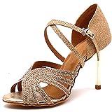 Zapatos de Baile Latino Set de Lentejuelas con Lentejuelas Blandas Suaves Coche Moderna Mujeres Shinny Ballroom Boda Baile Salón Partido Zapatos de tacón Alto,Oro,45EU
