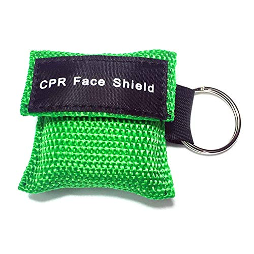 CALISTODE Beatmungsmaske Schlüsselanhänger CPR Maske Beatmungshilfe Taschenmaske Erste Hilfe (grün)