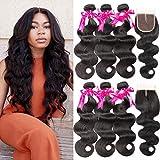 Beauty Princess 9A Brazilian Virgin Hair Body Wave 3 Bundles with Closure Unprocessed Human Hair Weave Bundles with Closure Soft Remy Hair (20 22 22+18)