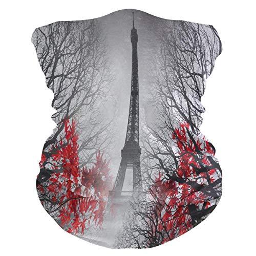 qinzuisp Hoofddoek Eiffeltoren Paris bloemen Uv-halsmanchet in de open lucht 25x50 druk winddichte bescherming gezicht bandana's vrouwen hoofdband ademend zacht, wasbaar multifunctionele kop