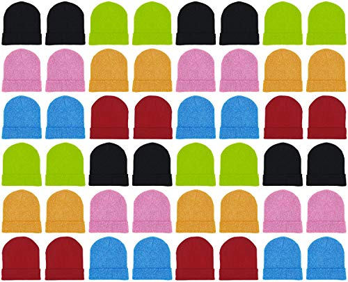 48 Pack Winter Beanies, Bulk Cold Weather Warm Knit Skull Caps, Mens Womens Unisex Hats (Assorted Colorful Neon)