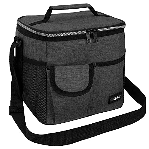OPUX Large Insulated Lunch Box for Men Women, Leakproof Thermal Lunch Bag Cooler Work Office School, Soft Reusable Lunch Tote with Shoulder Strap, Adult Lunch Pail Kit, 18 Cans, Dark Gray