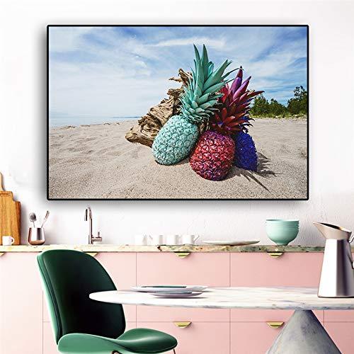tzxdbh Nordic Pineapple Green Plant Posters en Prints Canvas Schilderen Scandinavische Pop Art Muurfoto Voor Woonkamer Keuken Decor-in Schilderij & Kalligrafie van een 50x70cm No Frame
