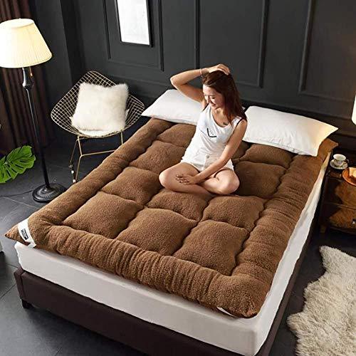 Nobuddy Materasso Letto futon Matrimoniale e Singolo Pieghevole e Arrotolabile materassi da Terra Alto 10cm futon Trapuntato salvaspazio,per Campeggio,balconi,Picnic/B:Brown / 90x200cm
