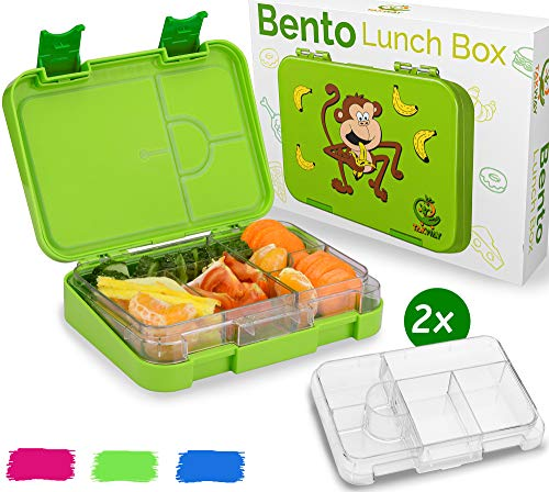 TAKWAY Bentobox Kinder mit Fächern Affe grün   2 Innenteile   Brotbox Kinder mit Unterteilung variabel 4 oder 6 Fächer   Brotdose mit Fächern Kindergarten Schule KiTa