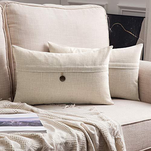 MIULEE Confezione da 2 Federe per Cuscini Copricuscini in Lino Incrociato Fodere Decorativi Bottone per Casa Divano Auto 30X50cm Bianco Crema