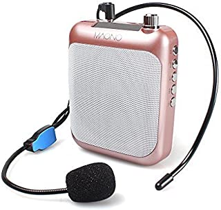 Voice Amplifier MAONO C01 Lightweight Cardioid Rechargeable Wired Microphone with Waistband and LED Display, Support FM/MP3/TF card for Coaches, Tour Guides, Kindergartener, Promotion,Meeting(Gold)