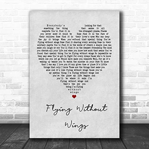 Vliegen zonder vleugels grijs hart lied lyrische citaat afdrukken Medium A4 (11.7