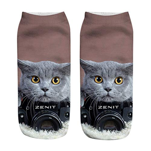 Kolylong® Erwachsene, Baumwolle, 3D Katzenabdruck Druck, lustige Socken, klare und lebendige Tiger/Katzentatzen-Socken für Männer und Frauen, 20 cm Kurz Socke 3D-Katze Druck Niedrige Socken Unisex
