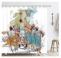 シャワーカーテン給水シャワーカーテン バスケットボールゲームの落書きスケッチ、モダンでシンプルなファッショナブル 寮、家族、クラブのためのシャワーカーテンポリエステル生地