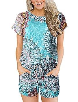 ANRABESS Women s Boho Printed Rompers Casual Loose Crewneck Short Sleeve Jumpsuit Pockets Elastic Waist Pajamas Loungewear A233-minzufeng-XL