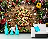 WYXYD wallpaper 3D no tejido pegatina de pared autoadhesivo mural Tamaño múltiple Color creativo comida pizza verduras tomates Pegatinas de pared, calcomanías de vinilo de creativo extraíble para baño