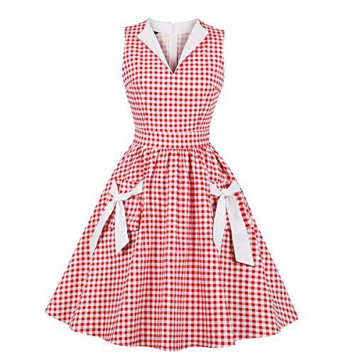 Wellwits - Vestito da donna con scollo a V, con tasca a quadri, anni '40, anni '50, stile vintage - rosso - 46-48