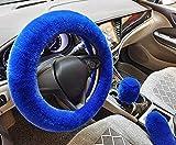 IBAIOU 3pcs/Set Inverno Caldo Morbido Furry Pelliccia Copri Volante, Misura Universale Fluffy Fuzzy Lana Faux Peluche Coprivolanti+Copertura Freno a Mano+Coperchio Ingranaggi (Blue)