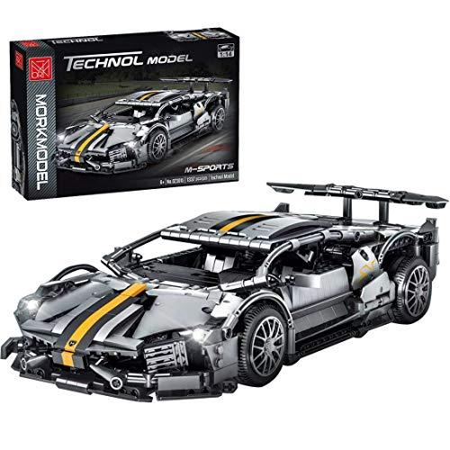 BGOOD Bloques de construcción para coche de carreras Lamborghini Murcielago 1337 con bloques de construcción para coche deportivo compatible con Lego Technic