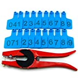 Numbered Farm Livestock Ear Tags for Cow Pig Sheep Cattle Identification Plastic TPU Precision Ear Stud Card Labels for Farm Animals (Customized) with 1 PC Plier Applicator (Blue, 100 PCS)
