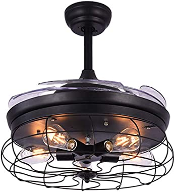 """Fandian 42"""" Modern Industrial Ceiling Fan with Lights Chandelier Remote Control Lamp 3 Speeds Retractable Lighting fixture, Silent Motor, Bulbs Required"""